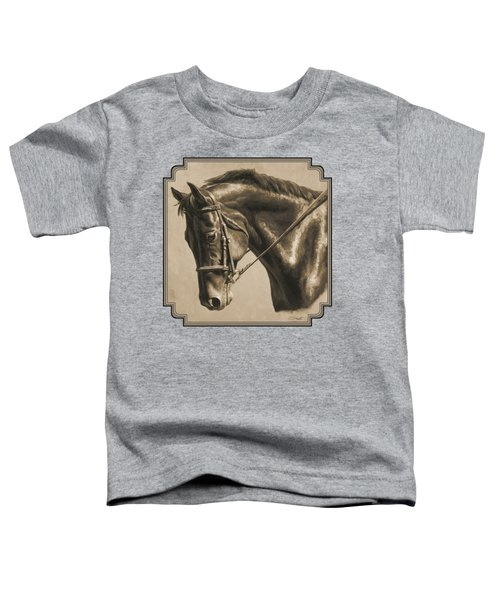 Horse Painting - Focus In Sepia Toddler T-Shirt by Crista Forest
