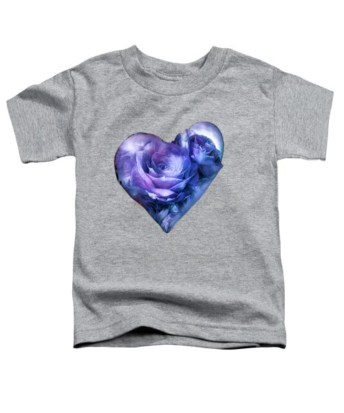 Heart Of A Rose - Lavender Blue Toddler T-Shirt by Carol Cavalaris