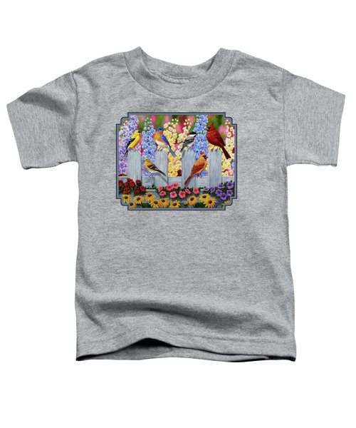 Bird Painting - Spring Garden Party Toddler T-Shirt by Crista Forest