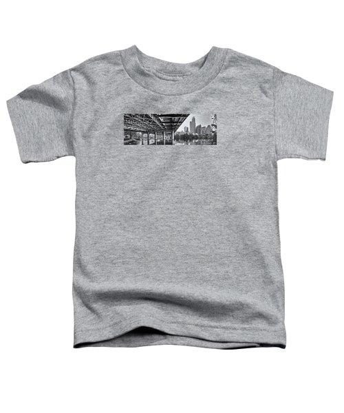 Black And White Panorama Of Downtown Austin Skyline Under The Bridge - Austin Texas  Toddler T-Shirt by Silvio Ligutti