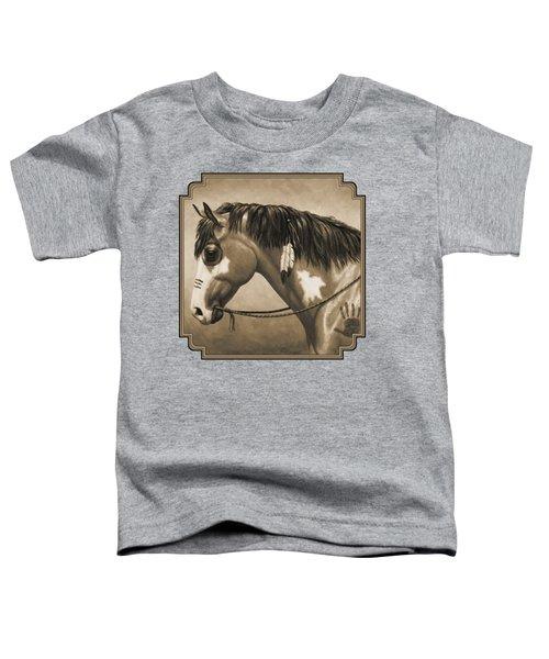 Buckskin War Horse In Sepia Toddler T-Shirt by Crista Forest