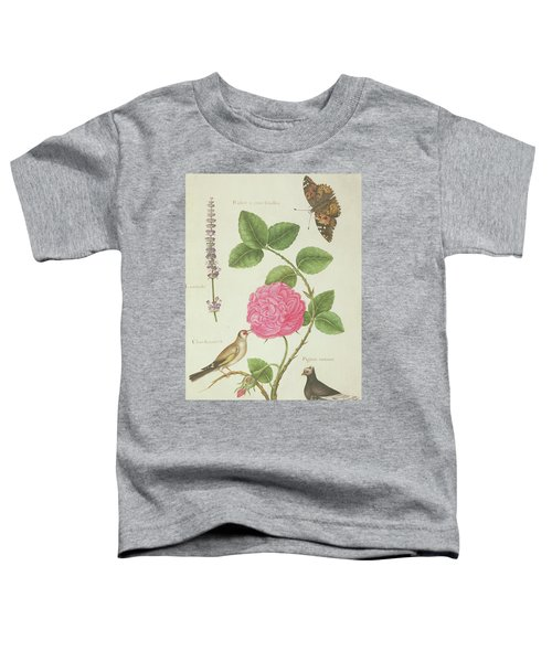 Centifolia Rose, Lavender, Tortoiseshell Butterfly, Goldfinch And Crested Pigeon Toddler T-Shirt by Nicolas Robert