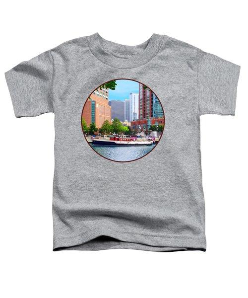 Chicago Il - Chicago River Near Centennial Fountain Toddler T-Shirt by Susan Savad