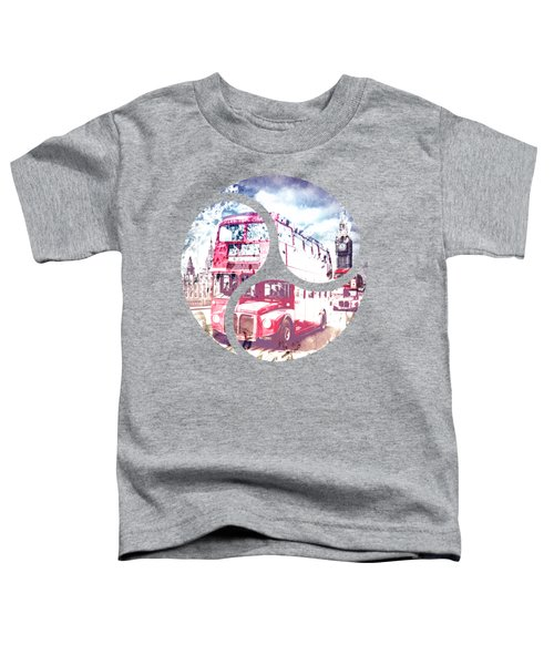 City-art London Red Buses On Westminster Bridge Toddler T-Shirt by Melanie Viola