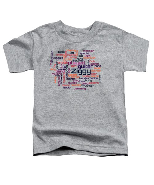 David Bowie - Ziggy Stardust Lyrical Cloud Toddler T-Shirt by Susan Maxwell Schmidt