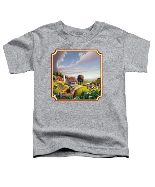 Farm Americana - Farm Decor - Appalachian Blackberry Patch - Square Format - Folk Art Toddler T-Shirt by Walt Curlee