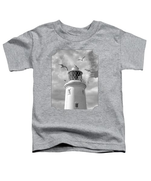Fly Past - Seagulls Round Southwold Lighthouse In Black And White Toddler T-Shirt by Gill Billington