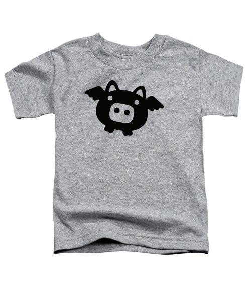 Flying Pig - Black Toddler T-Shirt by Julia Jasiczak