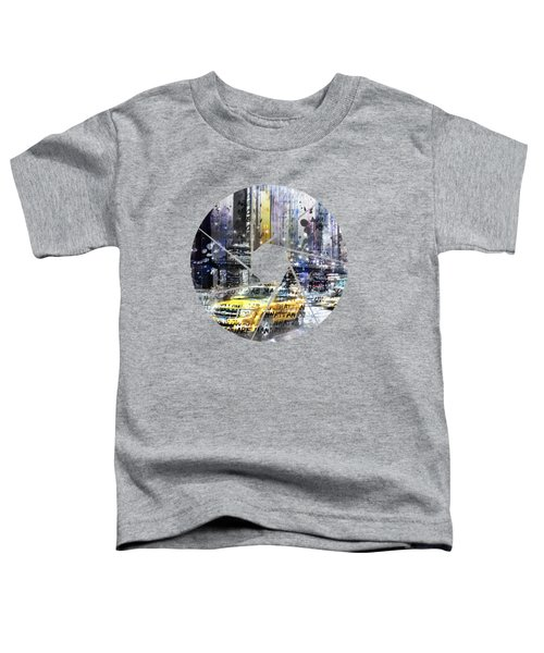 Graphic Art New York City Taxis And Manhattan Skyline Toddler T-Shirt by Melanie Viola