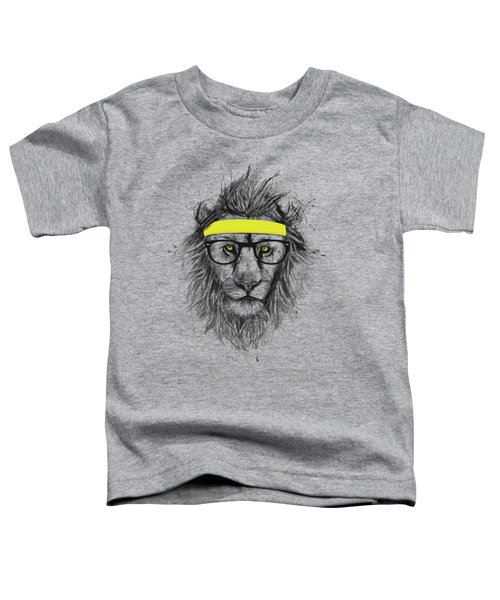 Hipster Lion Toddler T-Shirt by Balazs Solti