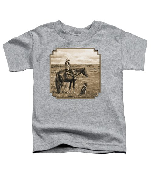 Little Cowgirl On Cattle Horse In Sepia Toddler T-Shirt by Crista Forest