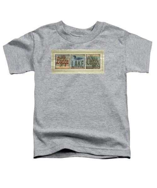 Lodge Lake Cabin Sign Toddler T-Shirt by Joe Low