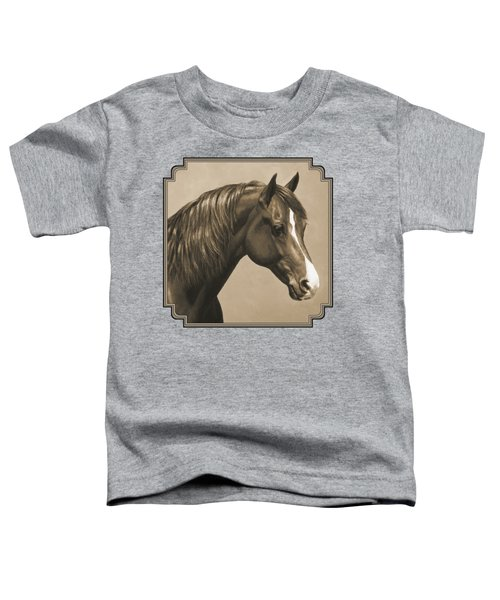 Morgan Horse Painting In Sepia Toddler T-Shirt by Crista Forest