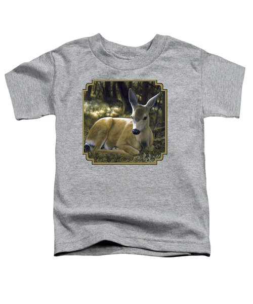 Mule Deer Fawn - A Quiet Place Toddler T-Shirt by Crista Forest