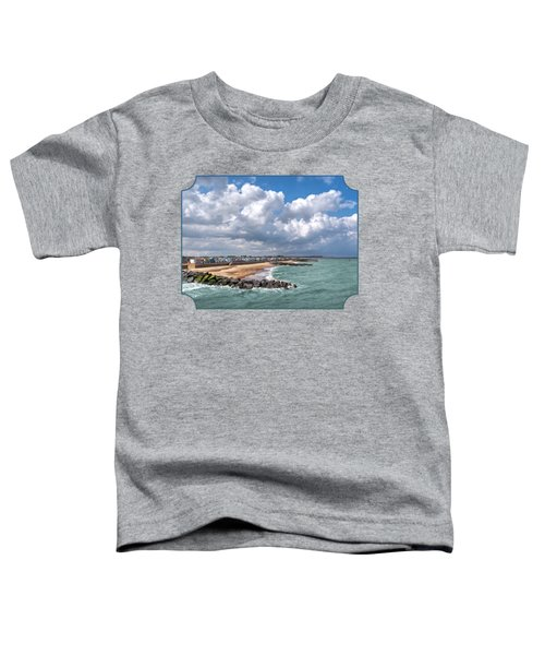Ocean View - Colorful Beach Huts Toddler T-Shirt by Gill Billington
