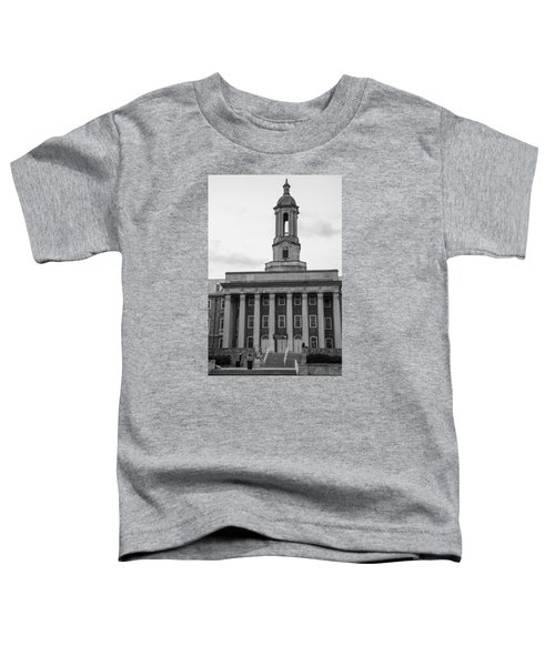 Old Main Penn State Black And White Toddler T-Shirt by John McGraw
