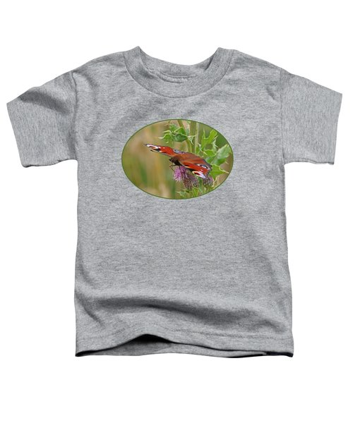 Peacock Butterfly On Thistle Toddler T-Shirt by Gill Billington
