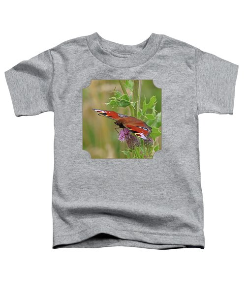 Peacock Butterfly On Thistle Square Toddler T-Shirt by Gill Billington