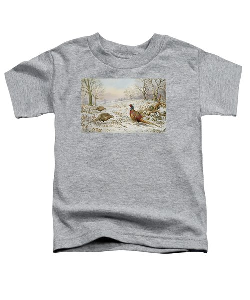 Pheasant And Partridges In A Snowy Landscape Toddler T-Shirt by Carl Donner