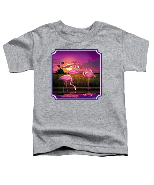 Pink Flamingos At Sunset Tropical Landscape - Square Format Toddler T-Shirt by Walt Curlee