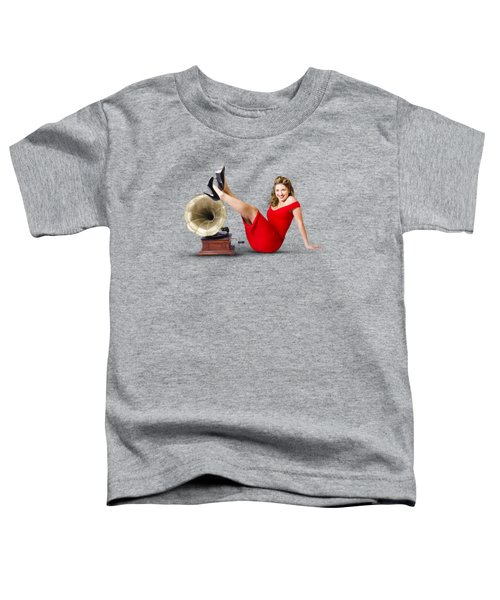 Pinup Girl In Red Dress Playing Classical Music Toddler T-Shirt by Jorgo Photography - Wall Art Gallery