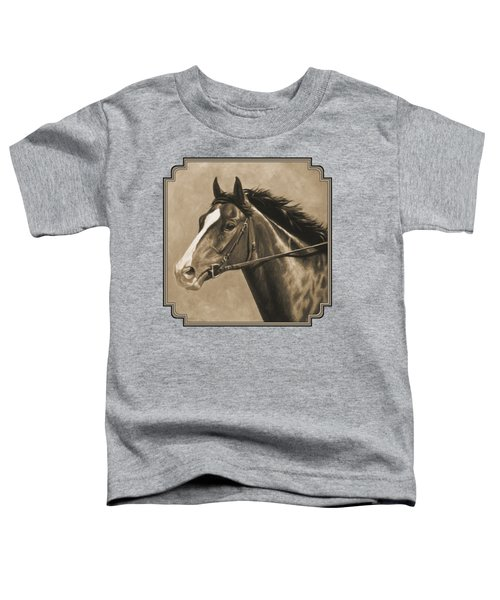 Racehorse Painting In Sepia Toddler T-Shirt by Crista Forest