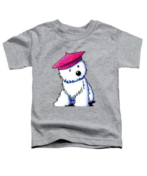 Raspberry Beret Westie Toddler T-Shirt by Kim Niles