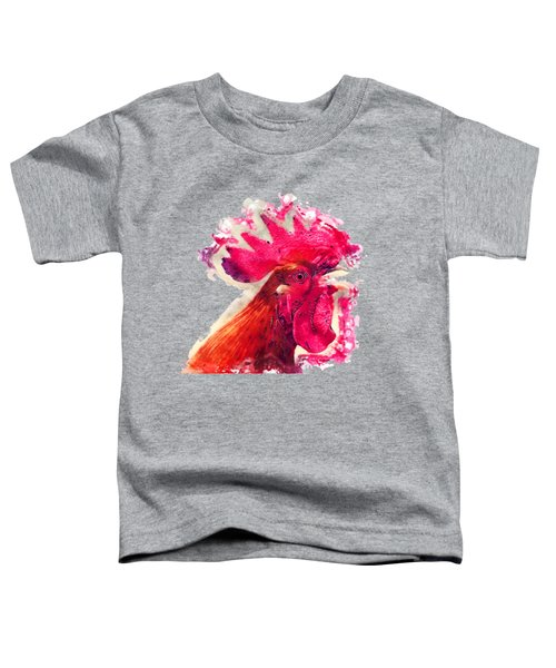 Rooster Watercolor Painting Toddler T-Shirt by Justyna JBJart