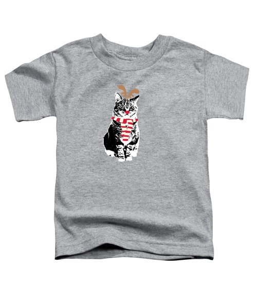 Rudolph The Red Nosed Cat- Art By Linda Woods Toddler T-Shirt by Linda Woods