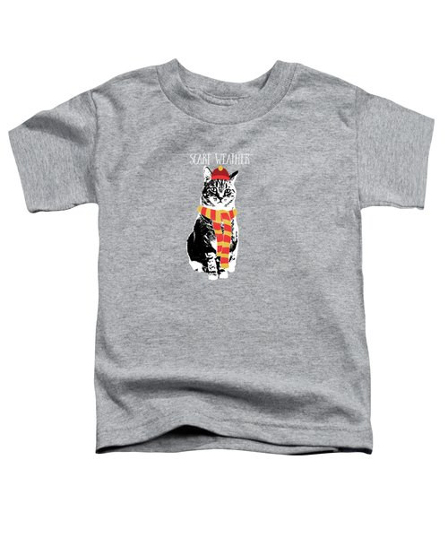 Scarf Weather Cat- Art By Linda Woods Toddler T-Shirt by Linda Woods