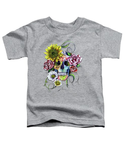 Skull And Flowers Toddler T-Shirt by Isabel Salvador