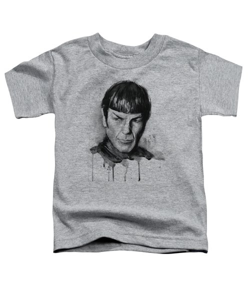 Spock Portrait Watercolor Star Trek Fan Art Toddler T-Shirt by Olga Shvartsur