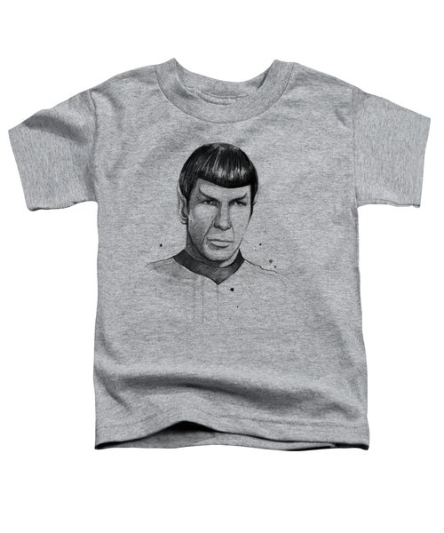 Spock Watercolor Portrait Toddler T-Shirt by Olga Shvartsur