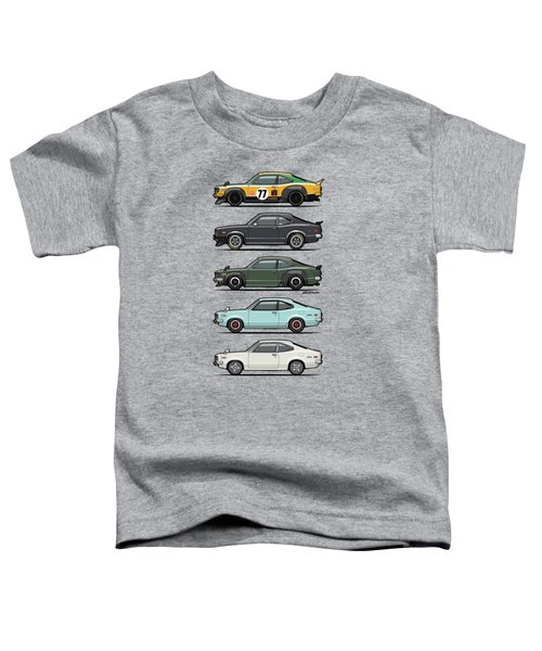 Stack Of Mazda Savanna Gt Rx-3 Coupes Toddler T-Shirt by Monkey Crisis On Mars