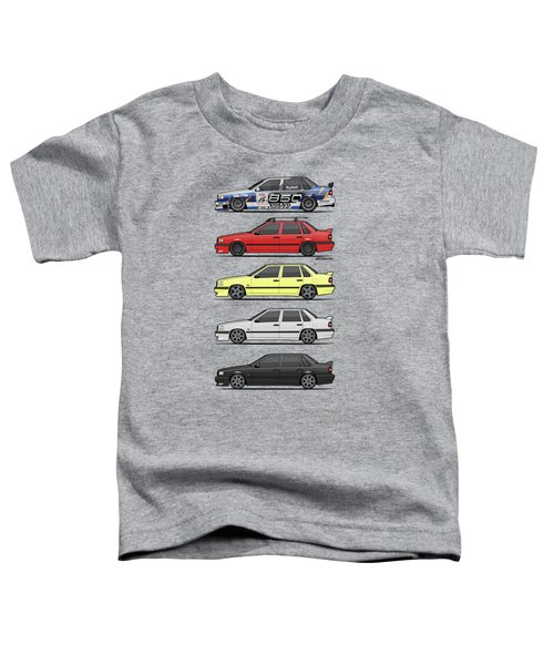Stack Of Volvo 850r 854r T5 Turbo Saloon Sedans Toddler T-Shirt by Monkey Crisis On Mars