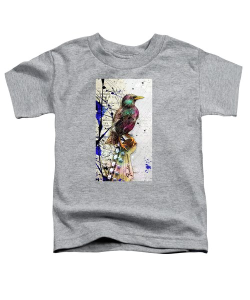 Starling On A Strat Toddler T-Shirt by Gary Bodnar