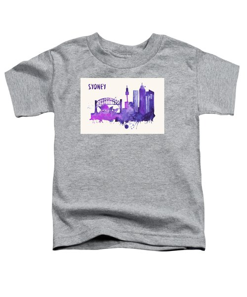 Sydney Skyline Watercolor Poster - Cityscape Painting Artwork Toddler T-Shirt by Beautify My Walls
