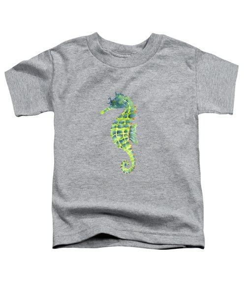 Teal Green Seahorse Toddler T-Shirt by Amy Kirkpatrick