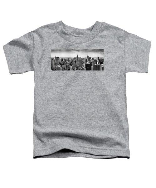 New York City Skyline Bw Toddler T-Shirt by Az Jackson