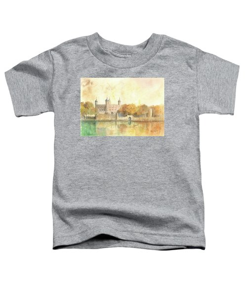 Tower Of London Watercolor Toddler T-Shirt by Juan Bosco