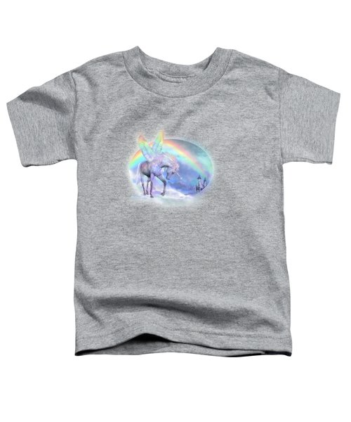 Unicorn Of The Rainbow Toddler T-Shirt by Carol Cavalaris
