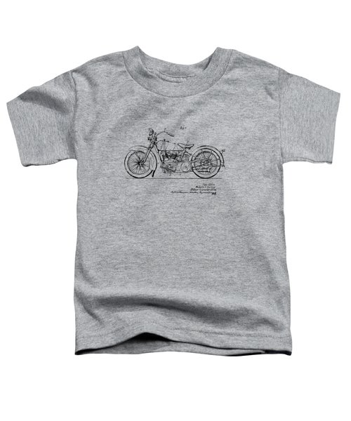 Vintage Harley-davidson Motorcycle 1928 Patent Artwork Toddler T-Shirt by Nikki Smith