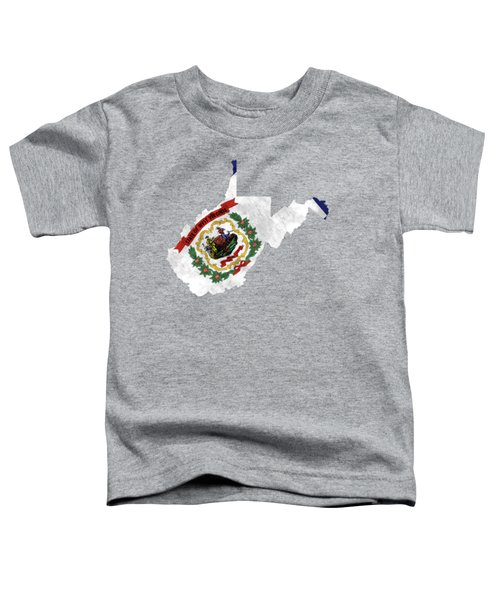 West Virginia Map Art With Flag Design Toddler T-Shirt by World Art Prints And Designs