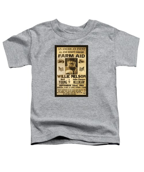 Willie Nelson Neil Young 1985 Farm Aid Poster Toddler T-Shirt by John Stephens