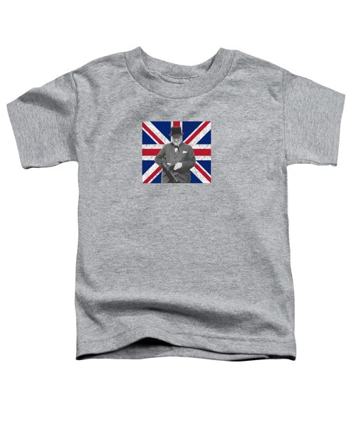 Winston Churchill And His Flag Toddler T-Shirt by War Is Hell Store
