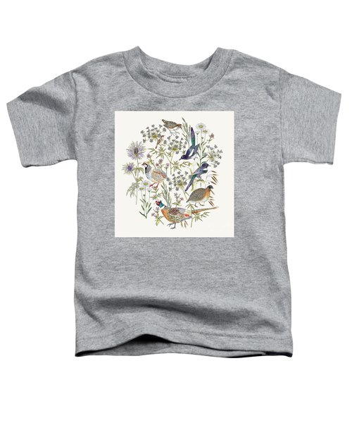 Woodland Edge Birds Placement Toddler T-Shirt by Jacqueline Colley