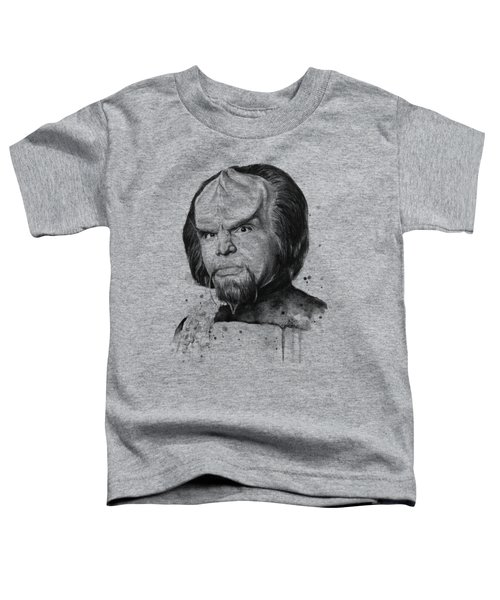 Worf Portrait Watercolor Star Trek Art Toddler T-Shirt by Olga Shvartsur