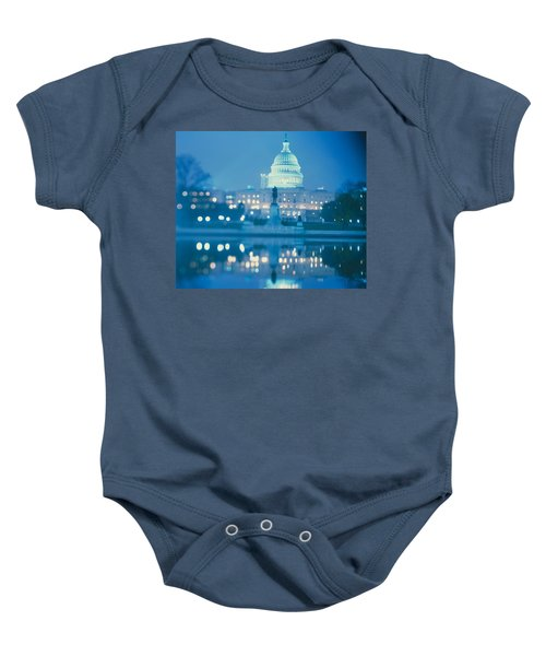 Government Building Lit Up At Night Baby Onesie by Panoramic Images