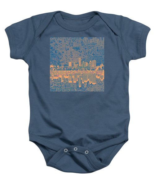 Austin Texas Skyline 2 Baby Onesie by Bekim Art