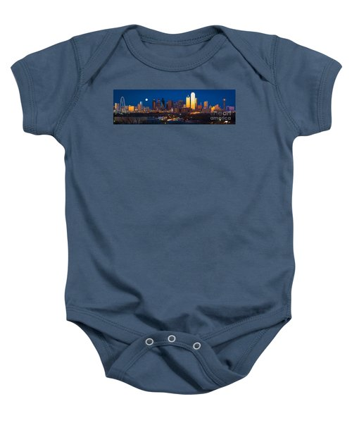 Dallas Skyline Panorama Baby Onesie by Inge Johnsson